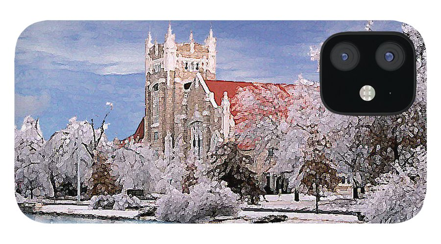 Winter IPhone 12 Case featuring the photograph Country Club Christian Church by Steve Karol
