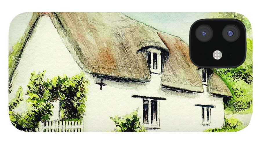 Country IPhone 12 Case featuring the painting Country Cottage England by Morgan Fitzsimons