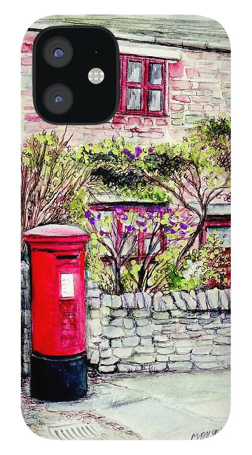 Country IPhone 12 Case featuring the painting Country Village Post Box by Morgan Fitzsimons