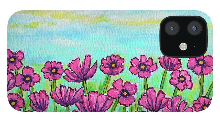 Cosmos IPhone 12 Case featuring the painting Crazy for Cosmos by Lisa Lorenz