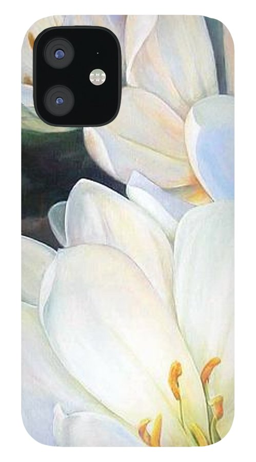Floral Painting IPhone 12 Case featuring the painting Crocus by Muriel Dolemieux