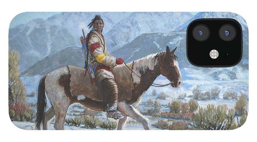 Crow Warrior IPhone 12 Case featuring the painting Crow on the Yellowstone river by Scott Robertson