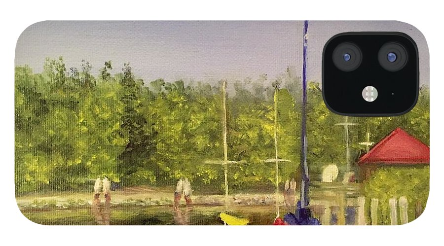Sailboats IPhone 12 Case featuring the painting Curtin's Marina II by Sheila Mashaw