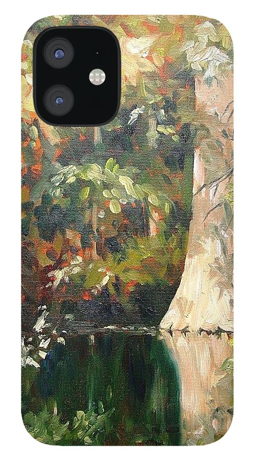 Landscape iPhone 12 Case featuring the painting Cypress in Sun by Marlene Gremillion
