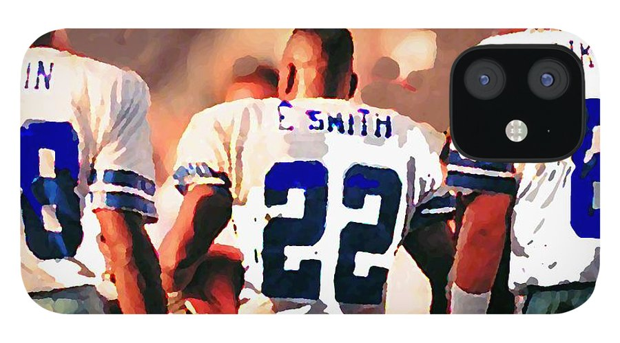 Dallas Cowboys IPhone 12 Case featuring the mixed media Dallas Cowboys Triplets by Paul Van Scott