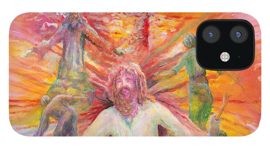 Jesus IPhone 12 Case featuring the painting Dance of Freedom by Nadine Rippelmeyer