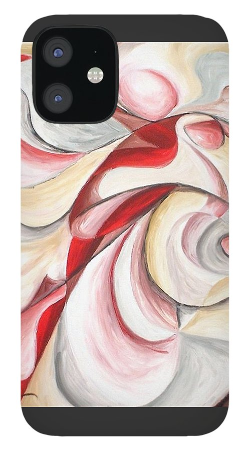 Abstract IPhone 12 Case featuring the painting Dancer by Rowena Finn