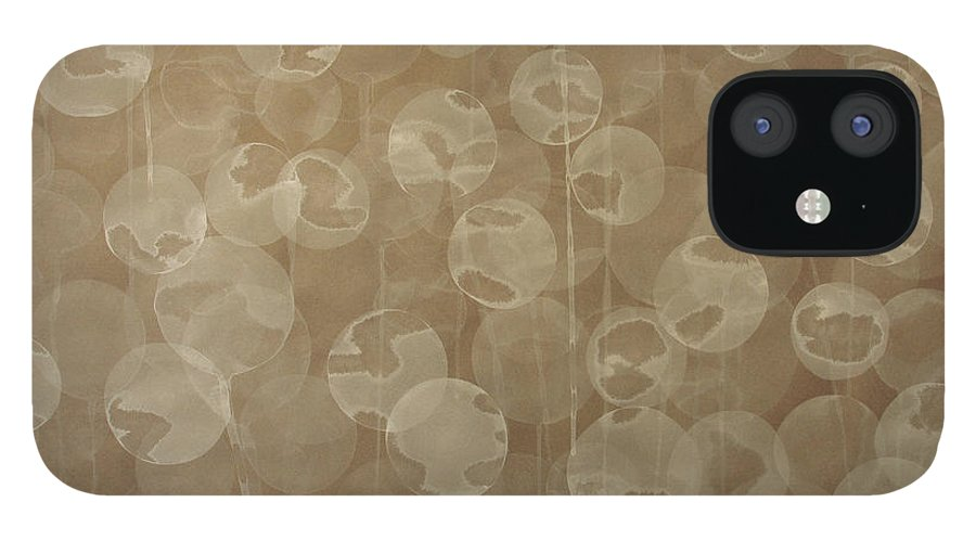 Abstract IPhone 12 Case featuring the painting Dandelion by Jitka Anlaufova