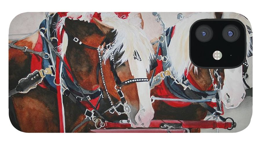 Horse IPhone 12 Case featuring the painting Dandy Duo by Jean Blackmer