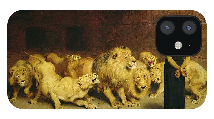 Daniel In The Lions Den IPhone 12 Case featuring the painting Daniel in the Lions Den by Briton Riviere