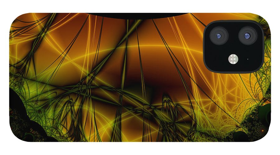 Abstract IPhone 12 Case featuring the digital art Dark Woods by Frederic Durville
