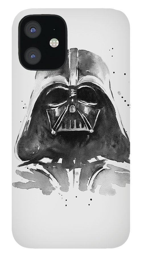 Watercolor IPhone 12 Case featuring the painting Darth Vader Watercolor by Olga Shvartsur