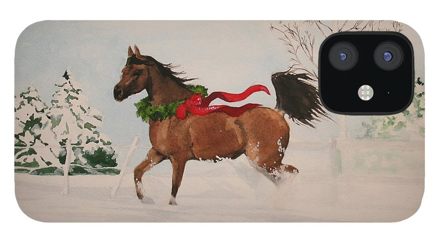 Horse IPhone 12 Case featuring the painting Dashing Thru The Snow by Jean Blackmer