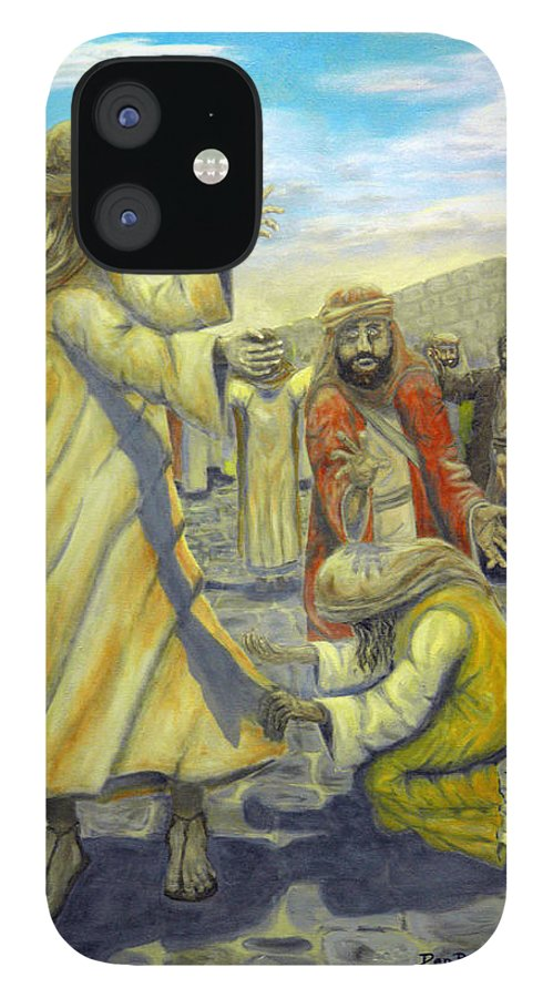 Christ IPhone 12 Case featuring the painting Daughter your faith has Healed you by Dan Bozich