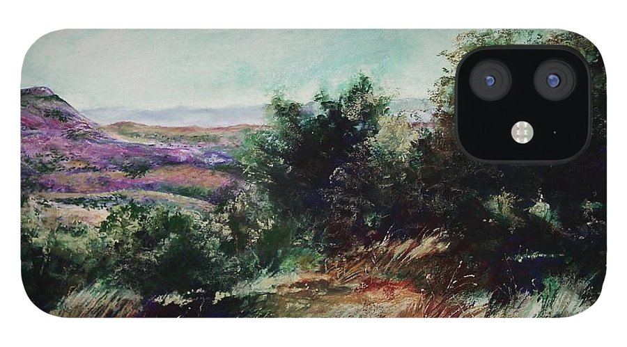 Pastel IPhone 12 Case featuring the painting Davis Mountain by Marlene Gremillion