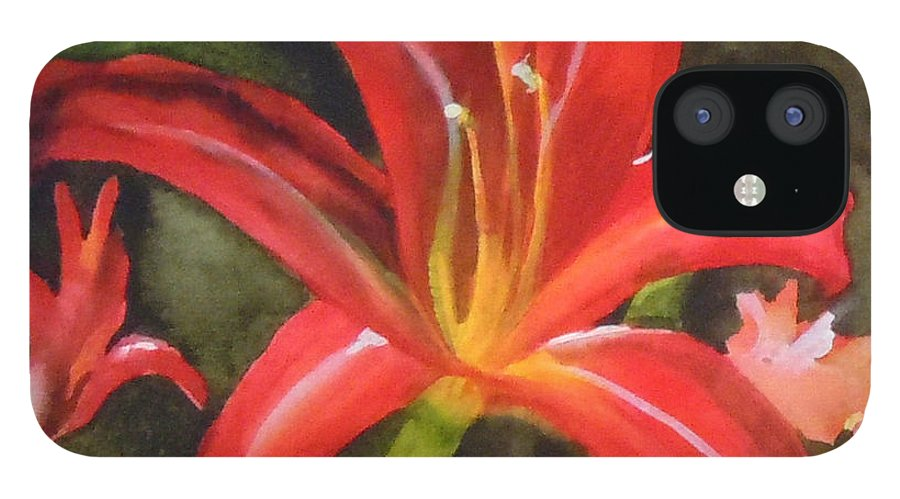 Red IPhone 12 Case featuring the painting Daylily Study IV by Jean Blackmer