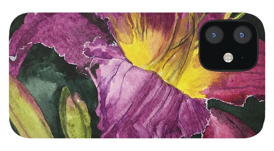 Daylily IPhone 12 Case featuring the painting Daylily Study VI by Jean Blackmer
