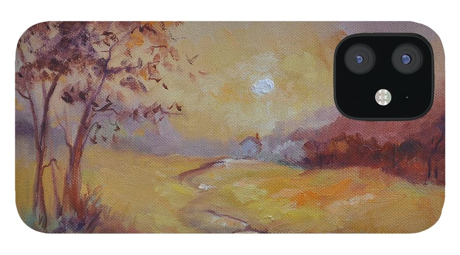 Evening Landscape iPhone 12 Case featuring the painting Day's End by Ginger Concepcion