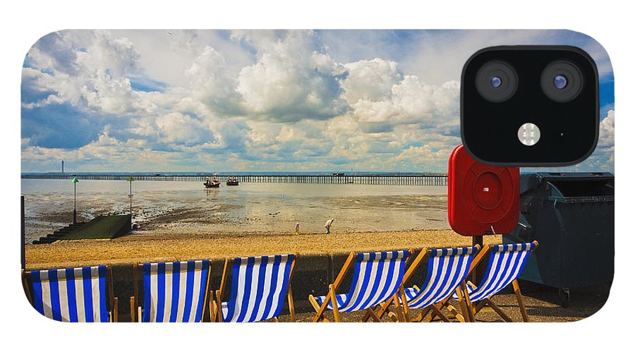 Southend On Sea IPhone 12 Case featuring the photograph Deck chairs at Southend on Sea by Sheila Smart Fine Art Photography
