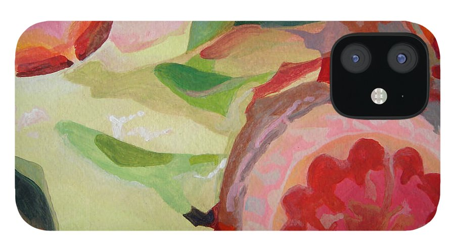 Abstract IPhone 12 Case featuring the painting Decoupage by Muriel Dolemieux