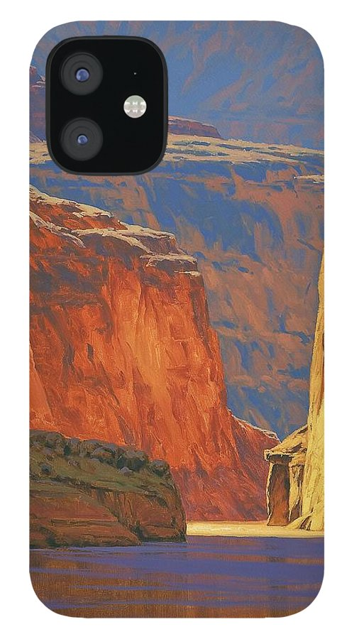 Grand Canyon IPhone 12 Case featuring the painting Deep in the Canyon by Cody DeLong