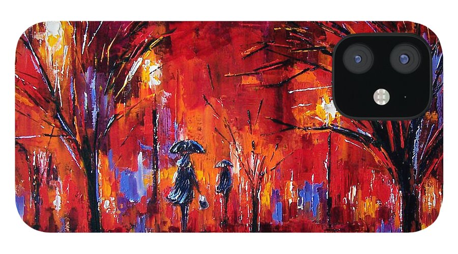 Umbrellas IPhone 12 Case featuring the painting Deep Red by Debra Hurd