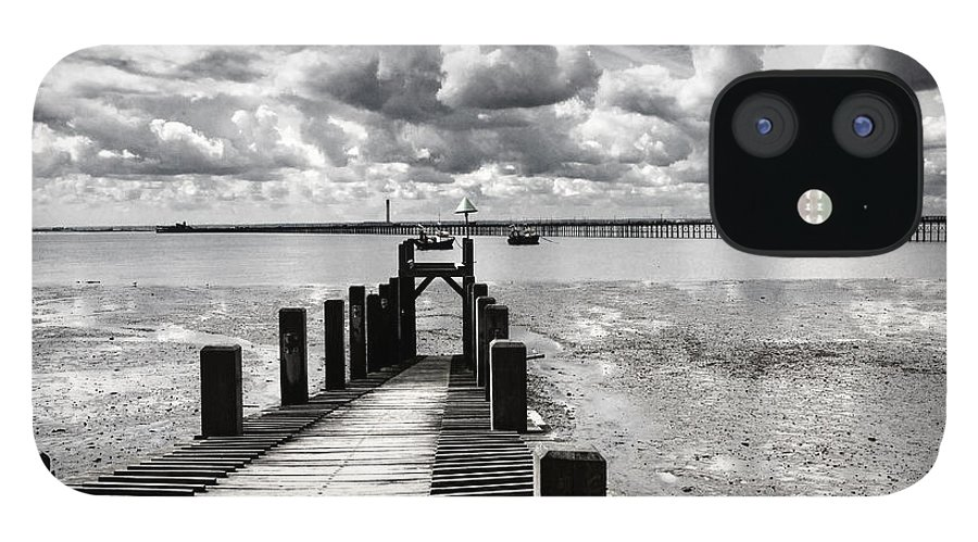 Wharf Southend Essex England Beach Sky IPhone 12 Case featuring the photograph Derelict Wharf by Sheila Smart Fine Art Photography