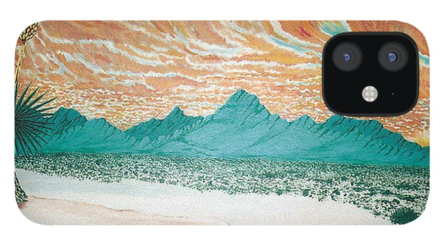 Desertscape IPhone 12 Case featuring the painting Desert Splendor by Marco Morales