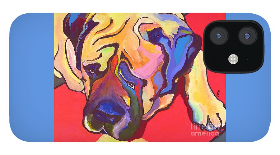 Mastiff IPhone 12 Case featuring the painting Diesel  by Pat Saunders-White