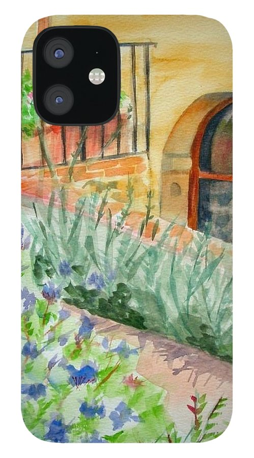 Flowers Surrounding Apartment On Vineyard IPhone 12 Case featuring the painting Dievole Vineyard by Judy Swerlick