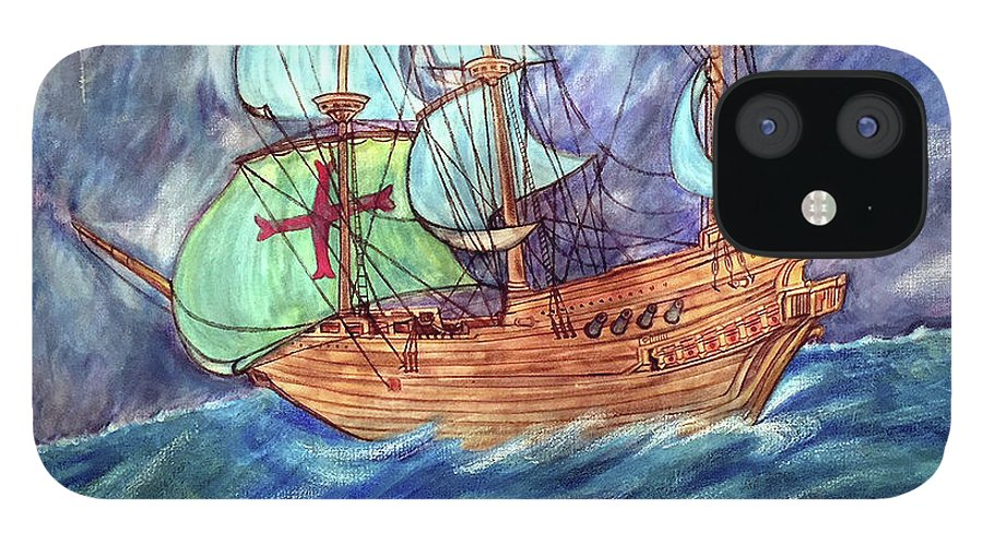 Seascape IPhone 12 Case featuring the painting Discovery by Marco Morales