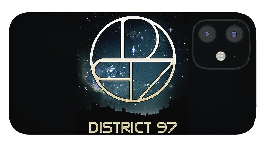 IPhone 12 Case featuring the digital art District 97 Logo by District 97