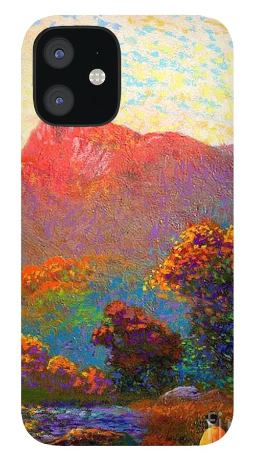 Meditation IPhone 12 Case featuring the painting Buddha Meditation, Divine Light by Jane Small