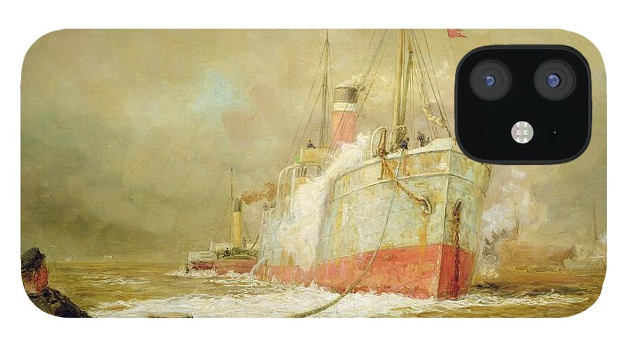 Docking IPhone 12 Case featuring the painting Docking a Cargo Ship by William Lionel Wyllie