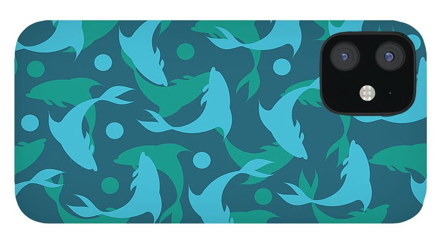 Dolphins IPhone 12 Case featuring the photograph Dolphins In Blue by Mark Ashkenazi
