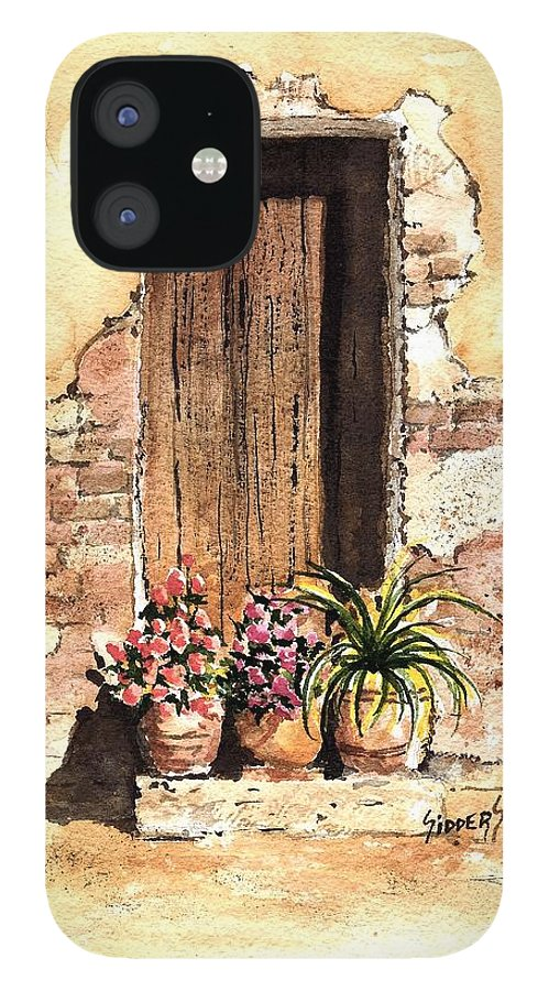 Door IPhone 12 Case featuring the painting Door With Flowers by Sam Sidders