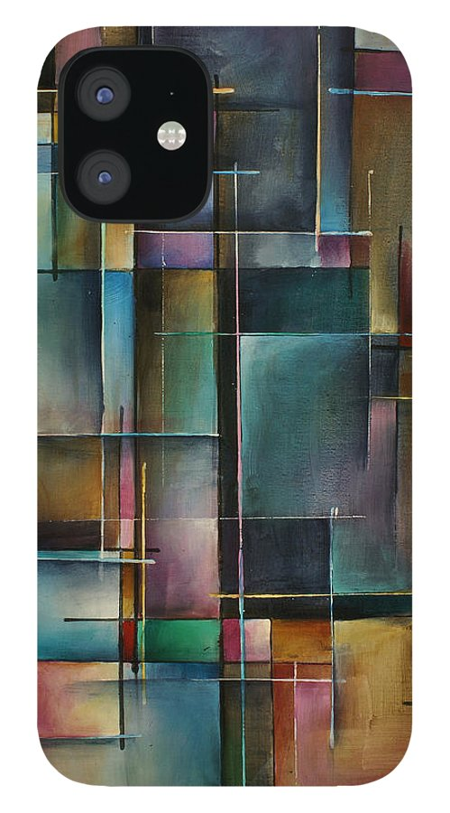 Abstract iPhone 12 Case featuring the painting Doorway to... by Michael Lang