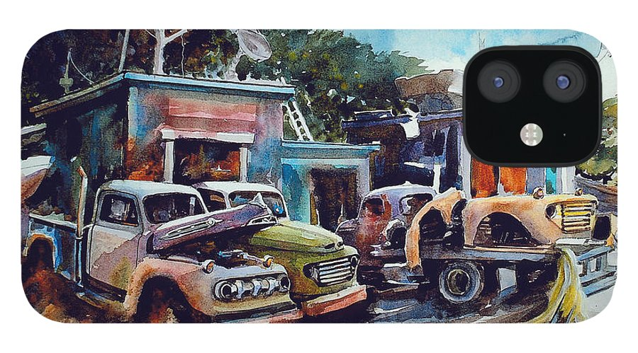 Trucks IPhone 12 Case featuring the painting Down on the Lower Road by Ron Morrison