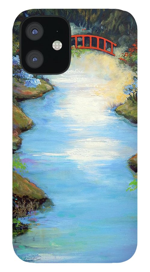 Streams IPhone 12 Case featuring the painting Dragon Bridge by Caroline Patrick