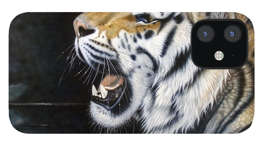 Tiger IPhone 12 Case featuring the painting Dragonfly by Sandi Baker