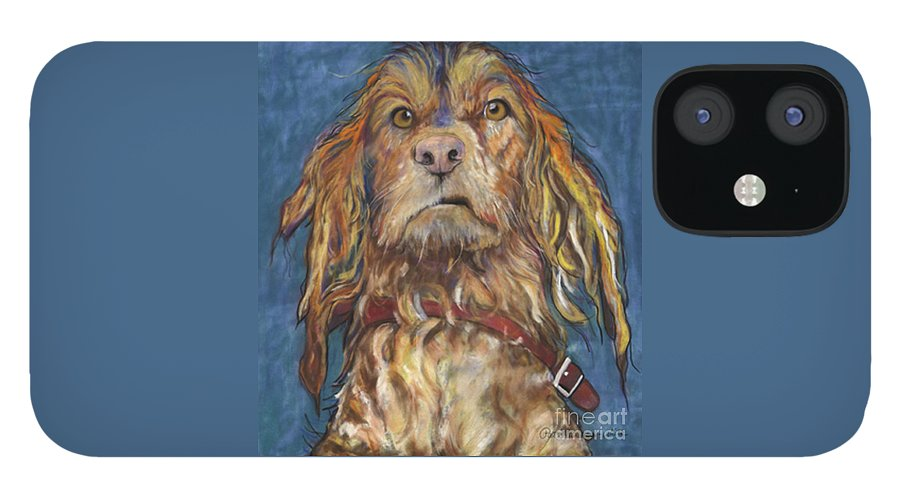 Golden Retriever Painting IPhone 12 Case featuring the pastel Drenched by Pat Saunders-White