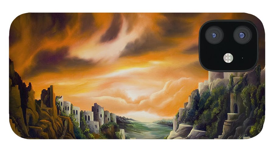 Ruins; Cityscape; Landscape; Nightmare; Horror; Power; Roman; City; World; Lost Empire; Dramatic; Sky; Red; Blue; Green; Scenic; Serene; Color; Vibrant; Contemporary; Greece; Stone; Rocks; Castle; Fantasy; Fire; Yellow; Tree; Bush IPhone 12 Case featuring the painting DualLands by James Christopher Hill