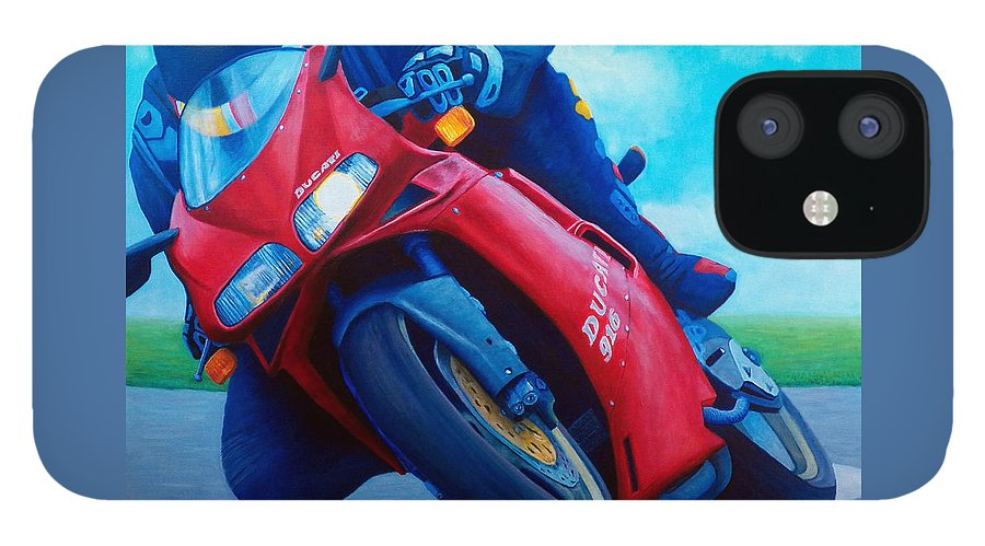 Motorcycle IPhone 12 Case featuring the painting Ducati 916 by Brian Commerford