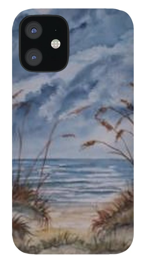 Watercolor Landscape Painting Seascape Beach IPhone 12 Case featuring the painting DUNES seascape fine art poster print seascape by Derek Mccrea