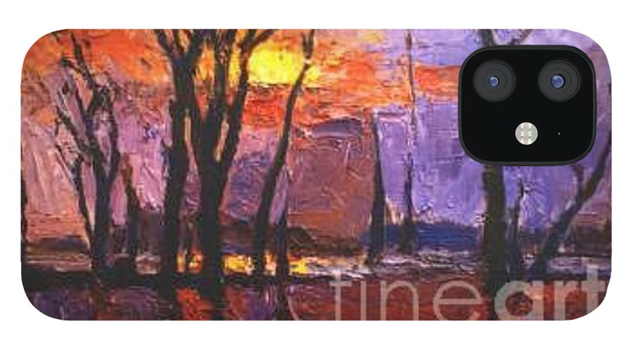 Dusk IPhone 12 Case featuring the painting Dusk by Meihua Lu