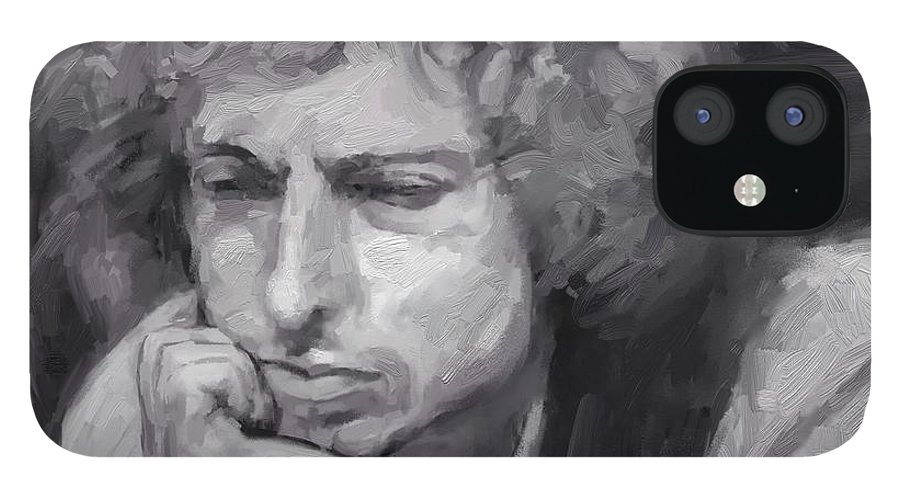Bob Dylan Music Portrait Musician Rock IPhone 12 Case featuring the digital art Dylan by Scott Waters