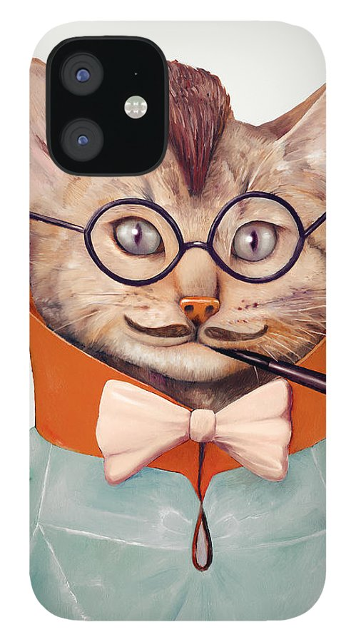 Cat Art IPhone 12 Case featuring the painting Eclectic Cat by Animal Crew