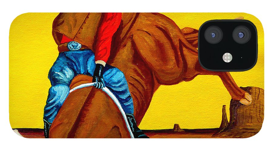 Rodeo IPhone 12 Case featuring the painting Eight Seconds by Anthony Dunphy
