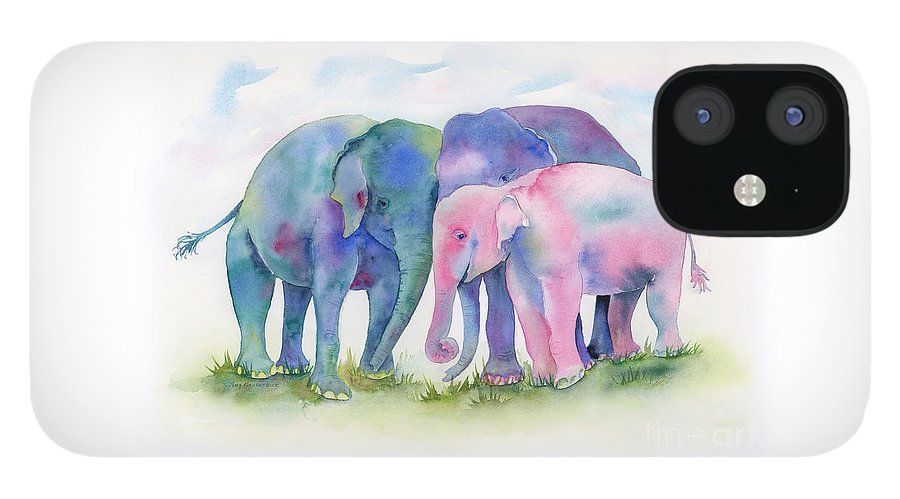 Elephant IPhone 12 Case featuring the painting Elephant Hug by Amy Kirkpatrick