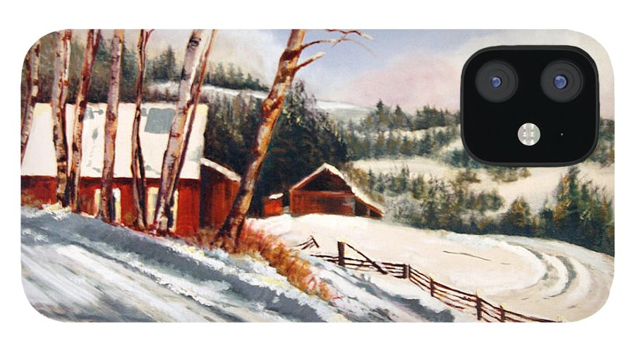 Snow IPhone 12 Case featuring the painting Elephant Mountain Ranch by Susan Moore